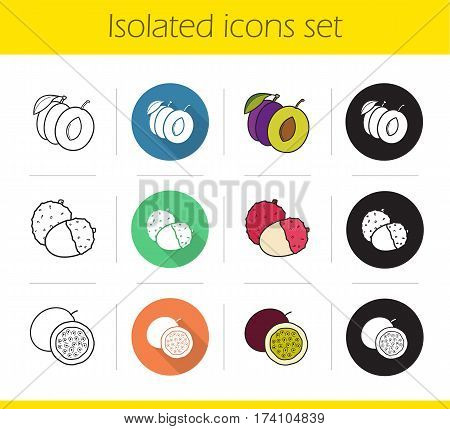 Fruit pairs icons set. Flat design, linear, black and color styles. Plum, lichi and passionfruit. Isolated vector illustrations