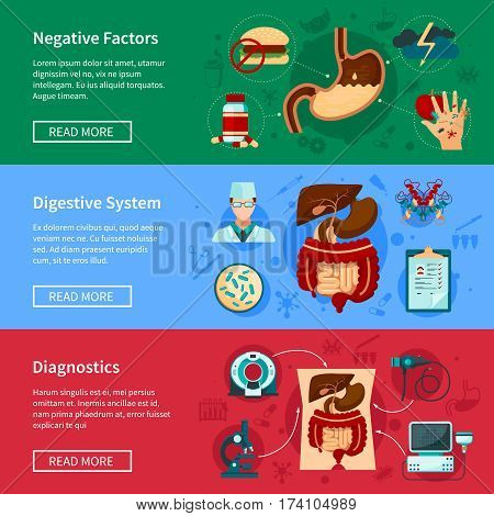 Three horizontal digestive system flat banner set with negative factors diagnostics and digestive systems descriptions vector illustration