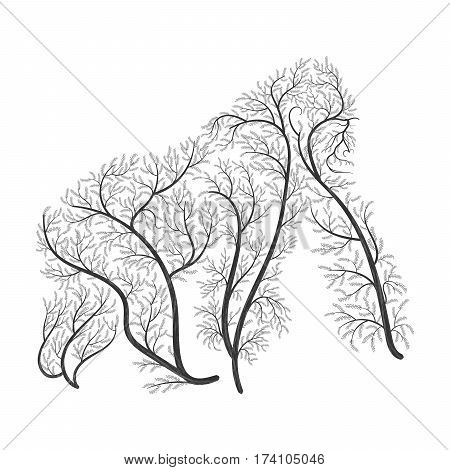 Gorilla stylized bushes on a white backgroundfor use as logos on cards in printing posters invitations web design and other purposes.