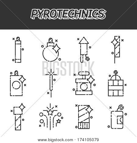 Pyrotechnics flat icons set on white background. Vector illustration, EPS 10