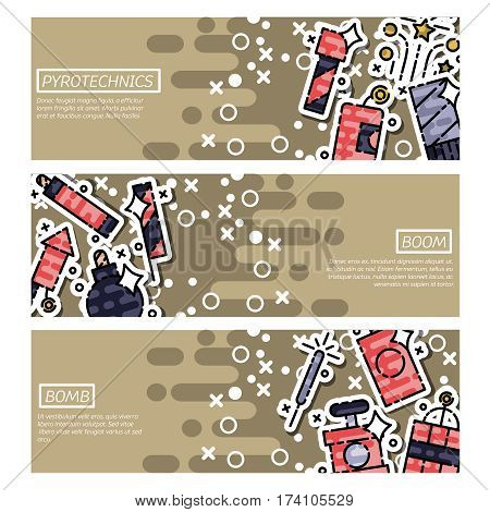 Set of Horizontal Banners about pyrotechnics. Vector illustration, EPS 10