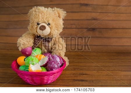 Easter Eggs In Basket And Stuffed Toy Bear