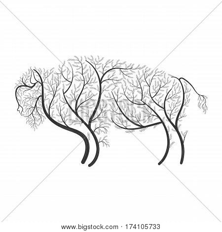 Bison stylized bushes on a white background for use as logos on cards in printing posters invitations web design and other purposes.