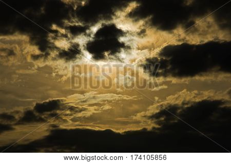 Picturesque dark clouds with sun behind them, after rain in Belgrade, Serbia
