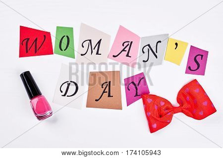 Bow and cards. Sincere congratulation with women's day.