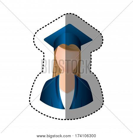 sticker half body woman with graduation outfit faceless vector illustration