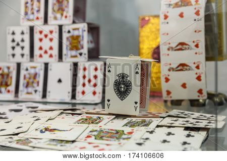 a house of cards in the exhibition Illusion Arts