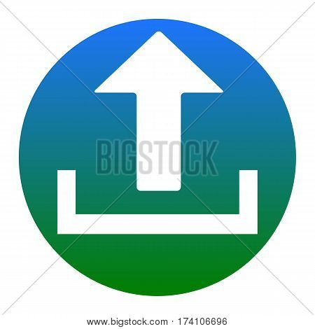 Upload sign illustration. Vector. White icon in bluish circle on white background. Isolated.