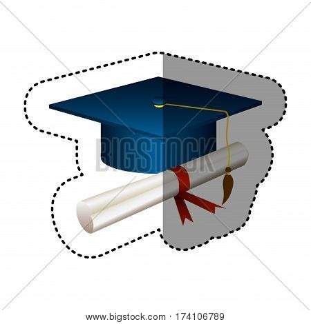 sticker silhouette graduation cap with certificate vector illustration
