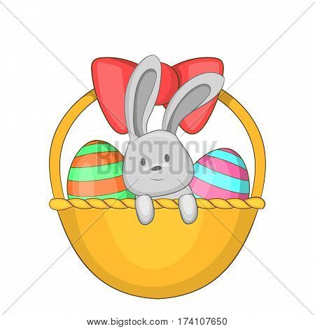 Easter bunny basket icon. Cartoon illustration of easter bunny basket vector icon for web