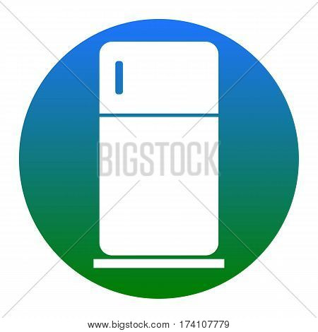 Refrigerator sign illustration. Vector. White icon in bluish circle on white background. Isolated.
