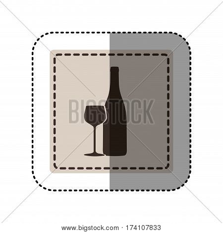 sticker monochrome square with bottle and glass of wine vector illustration