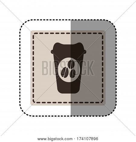 sticker monochrome square with disposable coffee cup vector illustration