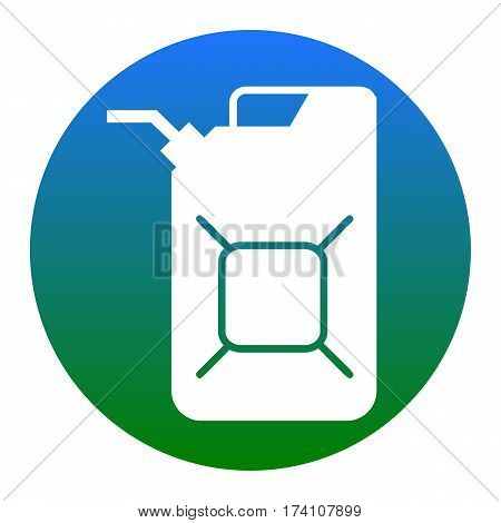 Jerrycan oil sign. Jerry can oil sign. Vector. White icon in bluish circle on white background. Isolated.