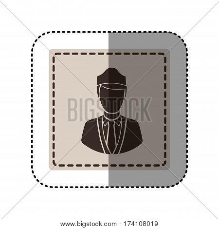 sticker monochrome square with flight attendant vector illustration