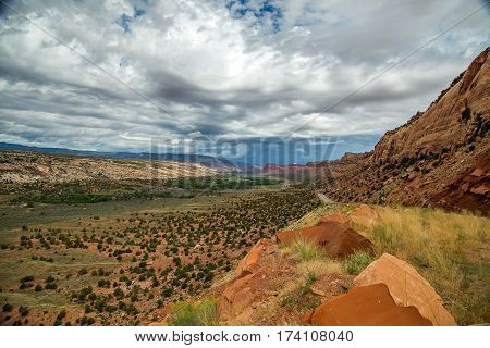 Comb Wash is a long narrow valley in south central San Juan County Utah. It runs 35 miles north to south from Elk Ridge to the San Juan River at an elevation of 4200 feet. On the eastern edge of the wash are steep cliffs of Navajo Sandstone rising in plac