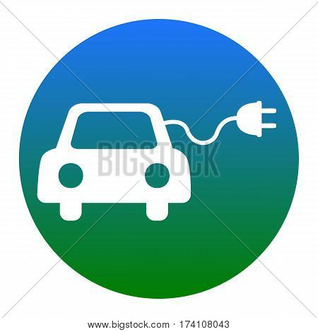 Eco electric car sign. Vector. White icon in bluish circle on white background. Isolated.