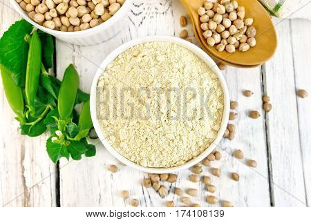 Flour Chickpeas In Bowl On Board Top