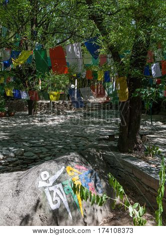 DHARAMSALA, INDIA. 2 Jun 2009: Sacred prayer flags near the residence of the Dalai Lama, McLeod gadge. Western Himalayas, Himachal Pradesh, district of Kangra.