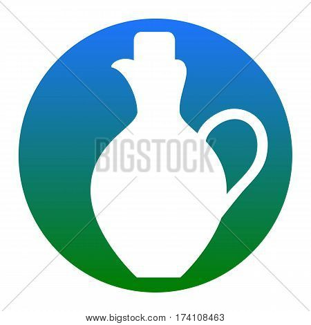 Amphora sign illustration. Vector. White icon in bluish circle on white background. Isolated.