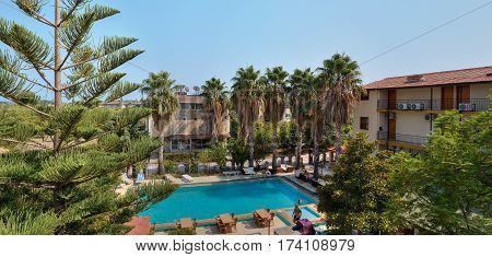 Camyuva Kemer Antalya Turkey - 29 august 2014: Outdoor swimming pool at a hotel in the resort town the view from the top.