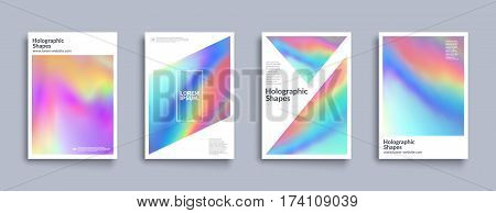 Holographic shapes backgrounds set. Modern geometric covers design. Applicable for cover,poster,brochure,magazine. Eps10 vector template.