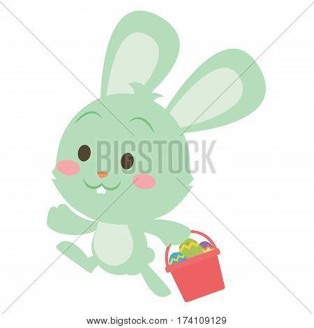 Easter green bunny character vector art collection stock