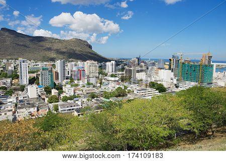 PORT LOUIS, MAURITIUS - NOVEMBER 29, 2012: View to the downtown of Port Louis, Mauritius.