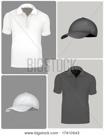 Photo-realistic vector illustration. Polo shirts (men) on the design backgrounds with caps. Black and white.