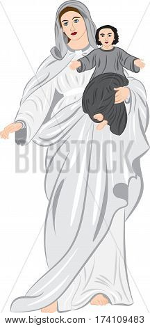 Madonna with baby on hands. Vector illustration