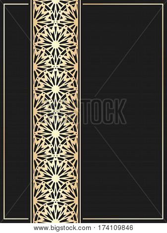 Islamic card. Golden border on black background. Vector template for restaurant menu. Wedding invitation in luxury style. Rising sun pattern.