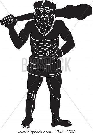 Primitive man naked with oak leaves on the head and at the waist with a big cudgel