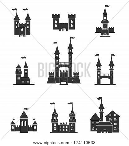 Towers and castles icons set. Tower architecture icon, building medieval, fort illustration. Castle tower silhouette in a flat style. Knights, royal, princess castle sign.