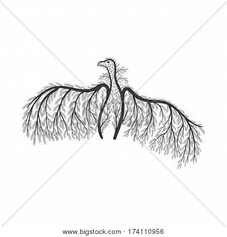 vulture stylized bushes for use as logos on cards in printing posters invitations web design and other purposes.
