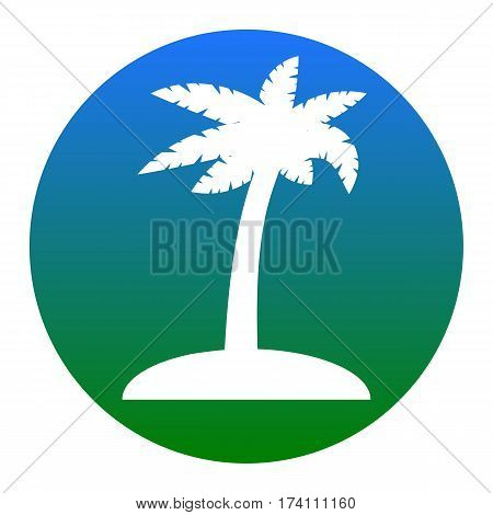 Coconut palm tree sign. Vector. White icon in bluish circle on white background. Isolated.
