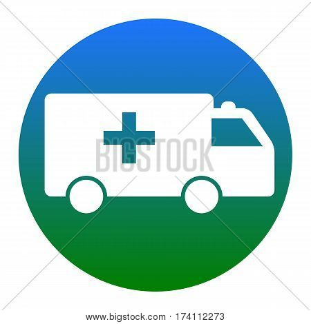 Ambulance sign illustration. Vector. White icon in bluish circle on white background. Isolated.