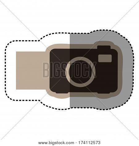 sticker monochrome emblem with analog camera vector illustration