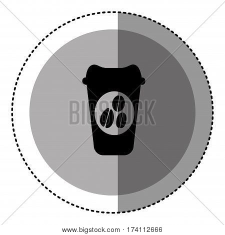 sticker monochrome circular emblem with disposable coffee cup vector illustration