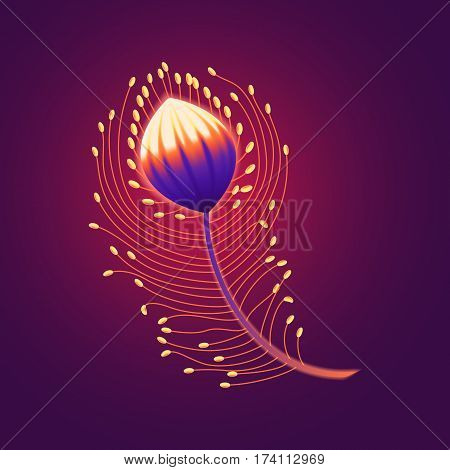 Fabulous colorful feather of the Firebird lights on a dark background