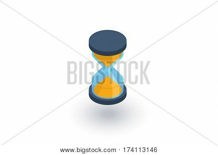 timer, sand hourglass, glass clock isometric flat icon. 3d vector colorful illustration. Pictogram isolated on white background