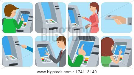People men and women using ATM machine. Vector illustration square icons isolated white background.