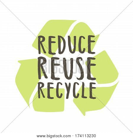 Reduce reuse recycle. Vector hand drawn illustration