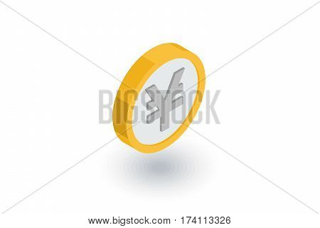 coin dollar, money, finance, currency isometric flat icon. 3d vector colorful illustration. Pictogram isolated on white background