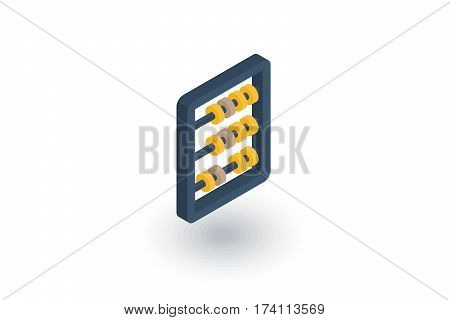abacus, school education, mathematics or arithmetic isometric flat icon. 3d vector colorful illustration. Pictogram isolated on white background
