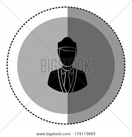 sticker monochrome circular emblem with flight attendant vector illustration