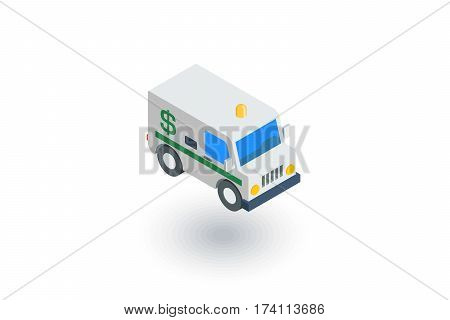 encashment service car, bank collector van, money delivery isometric flat icon. 3d vector colorful illustration. Pictogram isolated on white background