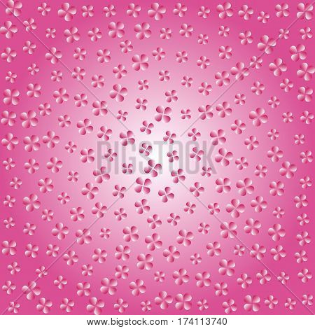 Abstract Pink Flowers. Poster Spring Petals. Background Pink Gradient. Vector Illustration.