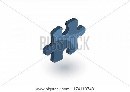 puzzle part, jigsaw piece, solution isometric flat icon. 3d vector colorful illustration. Pictogram isolated on white background