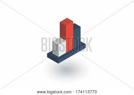 graph chart, statistic diagram isometric flat icon. 3d vector colorful illustration. Pictogram isolated on white background