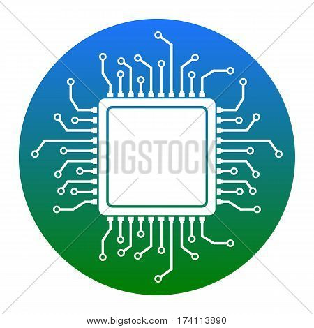 CPU Microprocessor illustration. Vector. White icon in bluish circle on white background. Isolated.